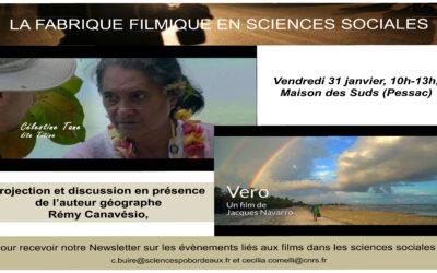 La fabrique filmique en Sciences Sociales, 31 janvier 2020