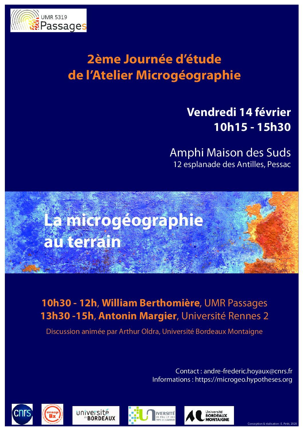 2e Journée d'étude de l'Atelier Microgéographie, vendredi 14 février 2020