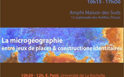 4e Journée d'étude Atelier Microgéographie, 20 novembre